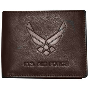 Men-039-s-Brown-Leather-US-Air-Force-Bifold-Wallet-RFID-Protected-Gift-Boxed