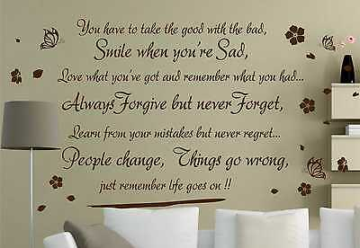 Life Goes On wall art quote wall sticker wall decals wall decor