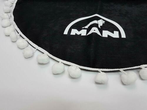 Set 3 BlACK Curtains Truck Accessories for MAN White Pom Poms
