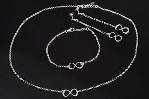 Set-mit-Infinity-Unendlichkeit-LIEBE-925-SILBER-gold-Halskette-Ohrringe-Armband