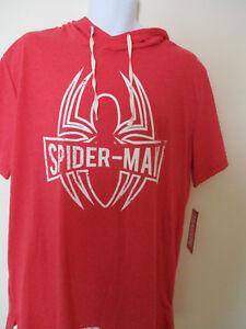 Unisex-Marvel-Conics-Spider-Man-Graphic-Cotton-Blend-Short-Sleeve-Hoodie-NWT