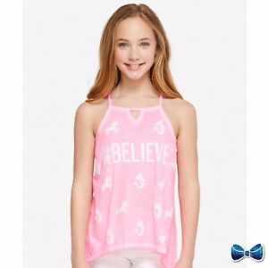 Justice-Girls-Size-12-High-Neck-Tank-Believe-New-With-Tags