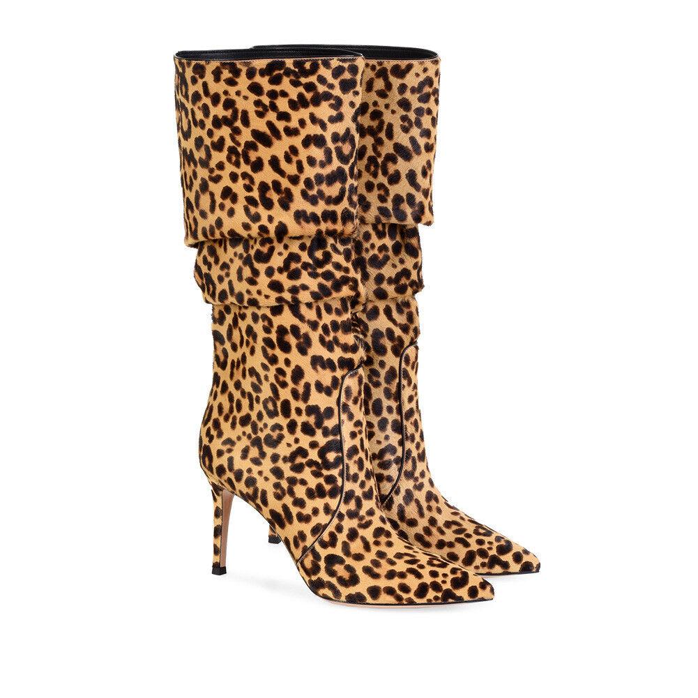 Mujer Entallado Tacón Alto botas Mitad de Pantorrilla Zapatos Stiletto Leopardo Fiesta Bota Puntera Puntiaguda