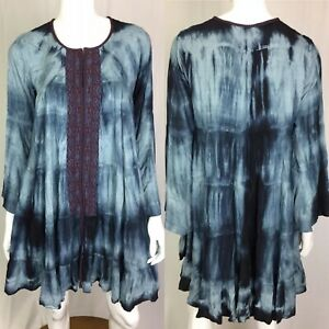 NWT-Kyla-Seo-Caite-Women-Small-Blue-Embroidered-Tunic-Tie-Dye-Boho-Peasant-Dress