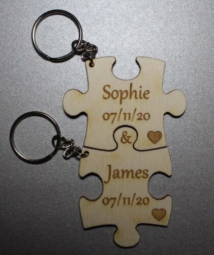 Personalised Wedding Day Gift 2x Jigsaw Puzzle Oak Keyring Anniversary Birthday