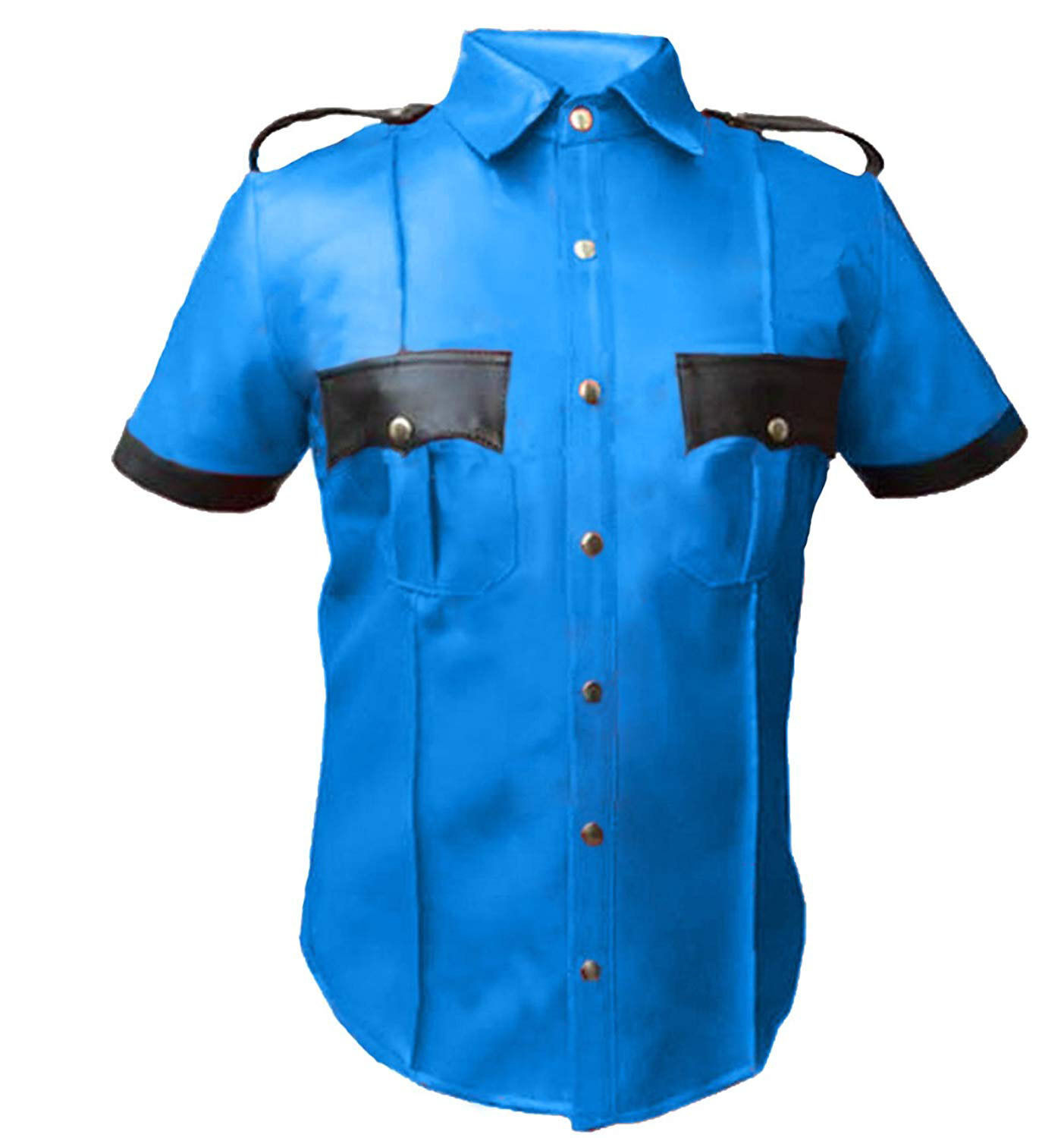 Sheep or Cow Leather Police Uniform Mens Very HOT Genuine Real Shirt blueF Gay