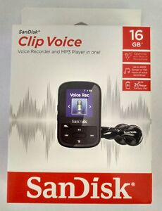 NEW-SanDisk-Clip-Voice-Recorder-16GB-Black-MP3-Player-Music-Audio-Microphone-USB