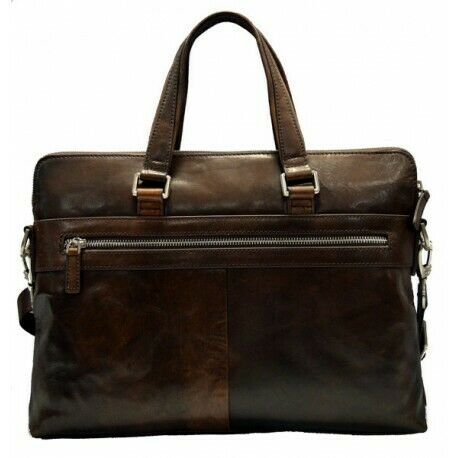 Cartella pelle portadocumenti messenger borsa porta notebook tracolla testa moro