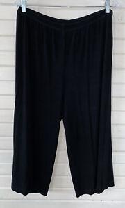 Chicos Travelers Sz 3 (XL) Black Slinky Knit  Cropped Wide Leg Stretch Pants EUC