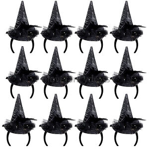 3 X MINI WITCHES HAT HEADBAND SILVER COBWEB ROSE FEATHER HALLOWEEN FANCY DRESS