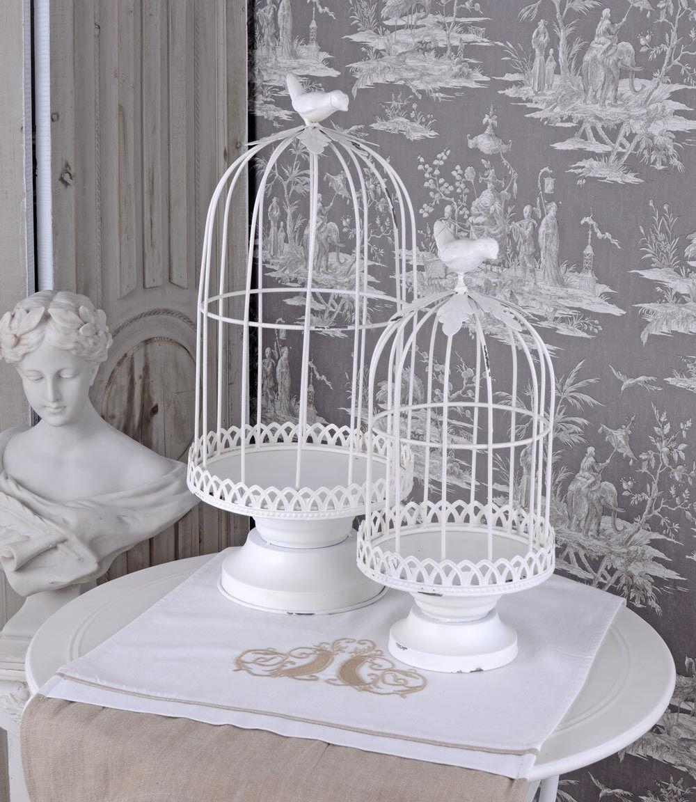 Drahthaube & Teller Voliere Haube Weißs Metallhaube Landhausstil Deko Vogelkäfig