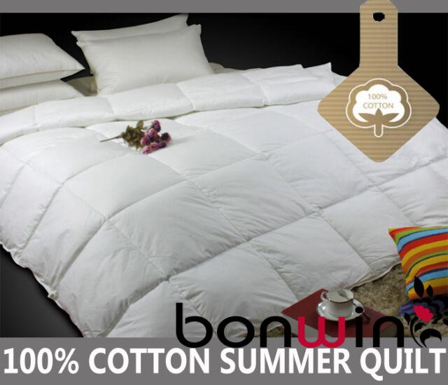 Single/Double/Queen/King Summer 100% Cotton Quilt/Doona/Blanket-Allergy Free