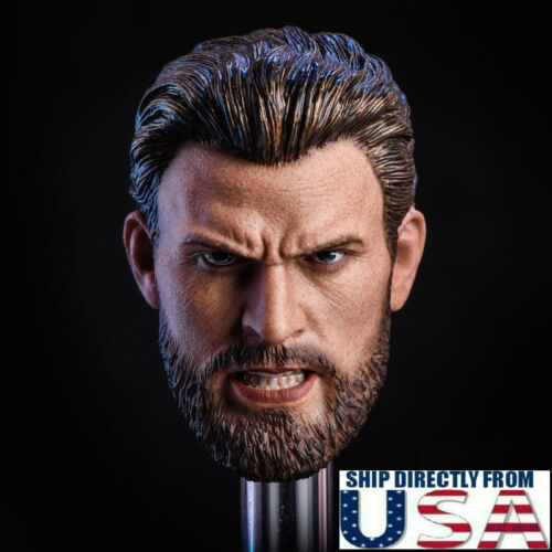 1//6 Chris Evans Captain America Head Sculpt ANGRY Version For PHICEN Hot Toys