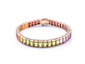 Vente Professionnelle 14k Or Jaune Rainbow Multi Gemstone Tennis Bracelet-afficher Le Titre D'origine Top PastèQues
