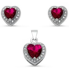 Ruby & Micro Pave Cz Heart Shape .925 Sterling Silver Pendant & Earring Set