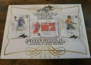Lot (4) 2021 Leaf Trinity Football Factory Sealed Hobby Box with 5 Autographs