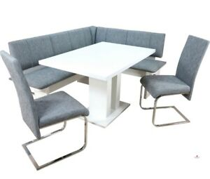 Eckbankgruppe 4 Tlg Esstisch Bank Stühle Essgruppe Farbe Weiß