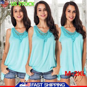 Women-Scoop-Neck-Sleeveless-Lace-Panelled-Asymmetrical-Vest-Tops-Blouse-Tank-Top