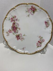 Haviland-Limoges-France-Floral-Pink-Rose-Gold-Scalloped-Edge-7-3-8-034-Plate