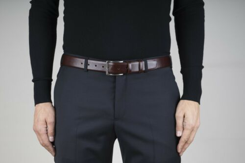 "Cognac leather belt Brown men/'s belts Genuine cowskin Fashion dress Size 38/"""