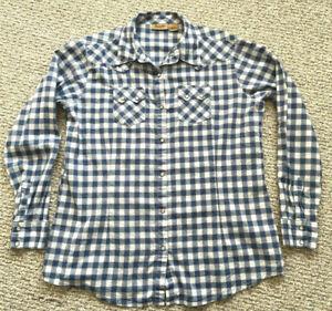 WRANGLER-Womens-L-Western-Shirt-PEARL-SNAP-Raw-Seam-Blue-Plaid-Red-White-Lightwt
