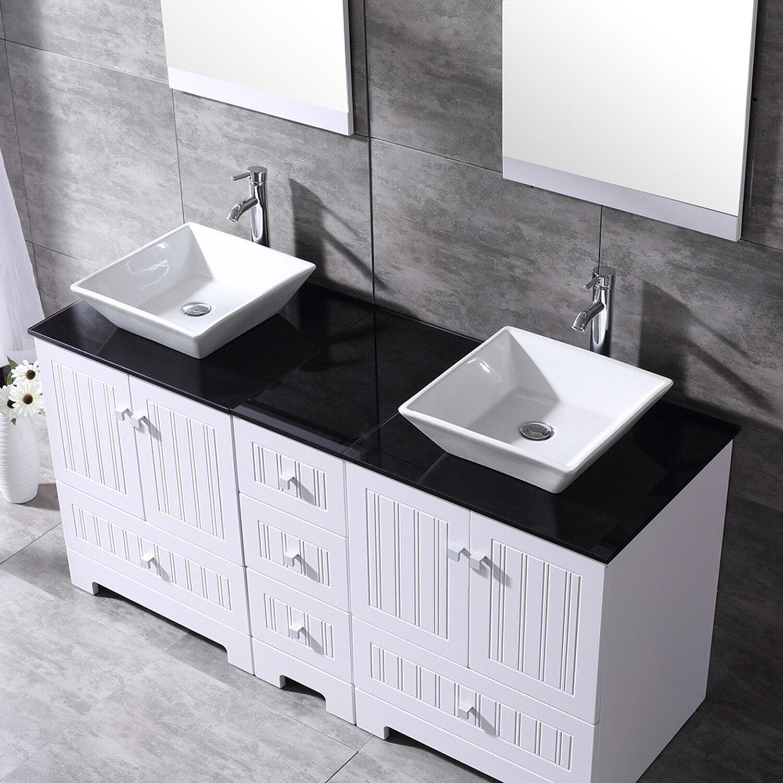 60 White Bathroom Vanity Black Top Wood Cabinet Ceramic Sink W Mirrors Faucets 817739029994 Ebay