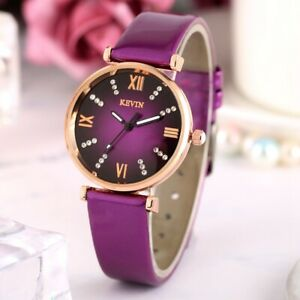 Quartz-Classic-Wrist-Watch-Smooth-Leather-Band-Strap-Crystal-Analog-Dial-Women