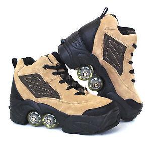 BUY-1-GET-2nd-50-OFF-Quad-KICK-ROLLER-Skates-retractable-WALKnROLL-BN-Beige-Lea