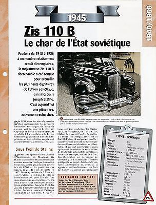 Sistematico Voiture Zis 110 B Fiche Technique Auto 1945 Collection Car