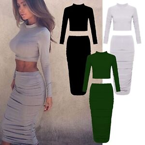 577c1a7b498 Two Piece Mini Midi Skirt Crop Top Dress Set Celeb Inspired Long ...