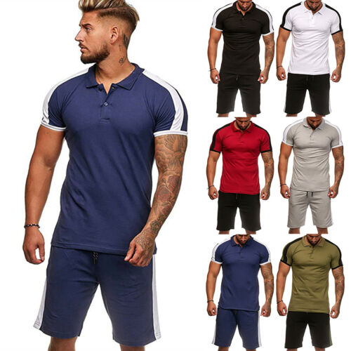Mens Tracksuit Jogging Muscle T-Shirt Polo Tops Shorts Sport Pants Activewear