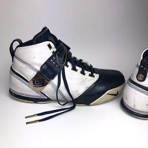 483c0cf9633b Nike Zoom Lebron V 5 Akron Olympic White Navy Blue 317253-141 Men s ...