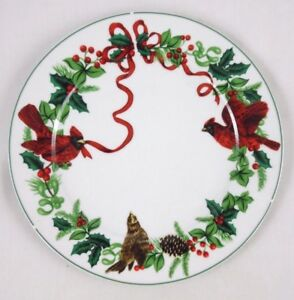 Royal Norfolk Cardinal Dinner Christmas Plate home accents vintage plate
