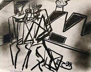 Alain-Michel-Boucher-Pittura-Originale-Guazzo-Fabbrica-1