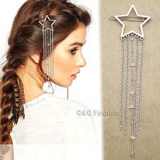 Bridal Silver Shooting Star Tassel Chain French Updo Hair Clip Dress Snap Pin W2