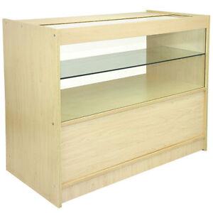Shop-Counter-Maple-Retail-Display-Storage-Cabinet-Glass-Showcase-Shelves-C1200