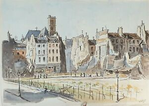 PARIS PARK. AQUARELLE SUR PAPIER. SIGNÉ A. GUERIN. FRANCE VERS 1940.