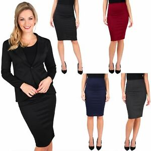 Womens-Ladies-Pencil-Skirt-Midi-Knee-Long-High-Waist-Work-Office-Business-Smart