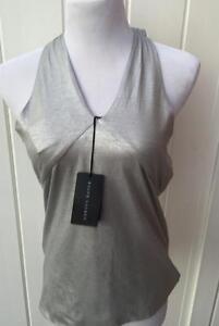 Ralph lauren womens black label silver metallic halter top for Silver metallic shirt women s