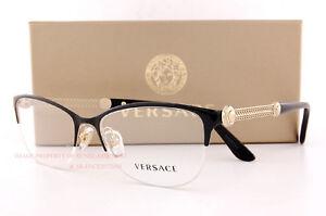 f878149bc3 Brand New VERSACE Eyeglass Frames 1228 1291 BLACK GOLD Women 100 ...