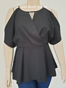 City Chic Ladies Cut Out Shoulder Top sizes 14 16 20 22 Colour Black