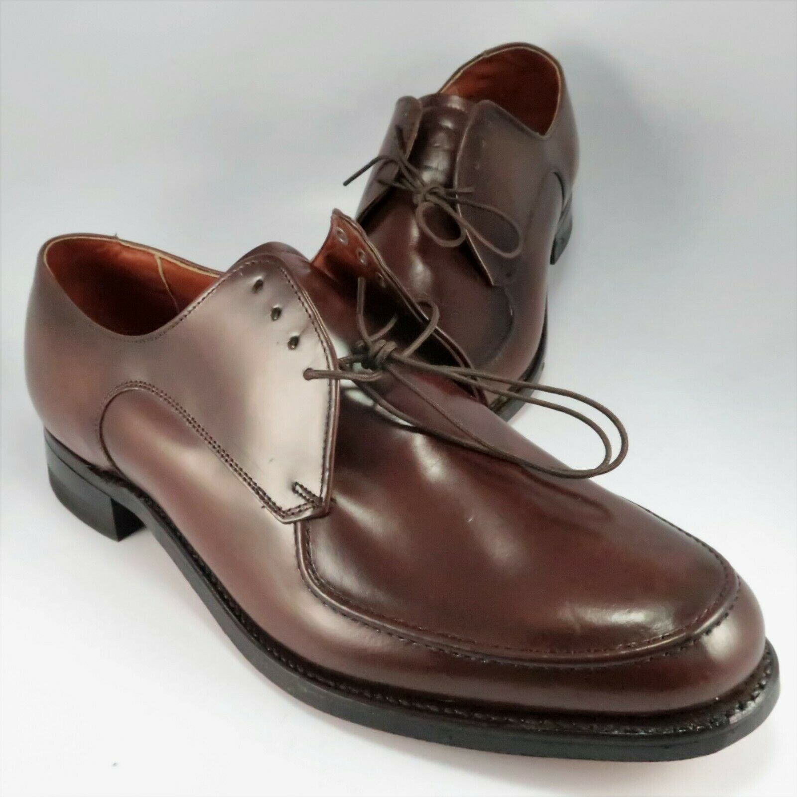 NEW Walk Over Apron-Toe Oxfords Mens Size 11.5D Brown Leather Lace-Up Dress shoes