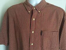 Abercrombie Fitch  S/S Button Down Red Plaid  100% Cotton Shirt  Mens SZ L Large