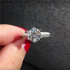 1.5Ct VVS1 Round Cut Moissanite Prong Best Engagement Ring 925 Sterling Silver
