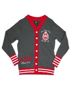 Delta Sigma Theta Sorority Gray Red Cardigan Sweater Delta Diva
