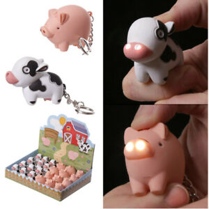 2-x-Novelty-Cute-LED-Farmyard-COW-and-PIG-Keyring-Party-Bag-Stocking-Filler-Gift