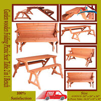 FoxHunter Garden wooden Folding Picnic Seat Table Bench 2 in 1 Outdoor FE2233