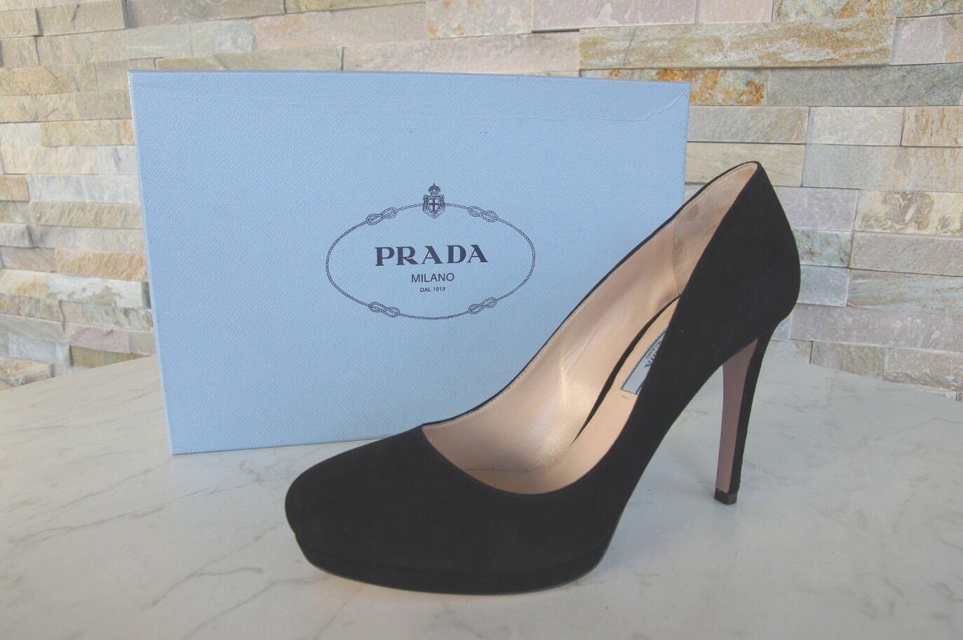 Prada Gr 40 Plateau Pumps High Heels 1IP286 Schuhe schwarz Neu