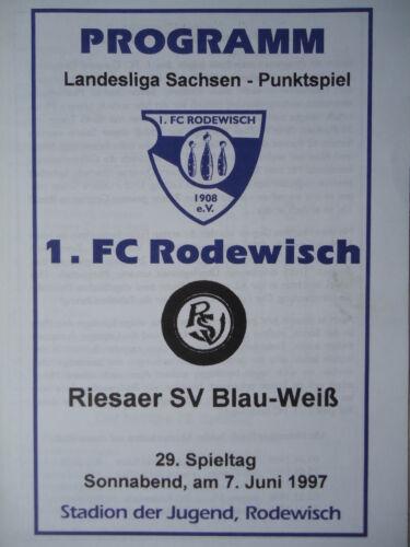 Riesaer SV Programm 1996//97 1 FC Rodewisch