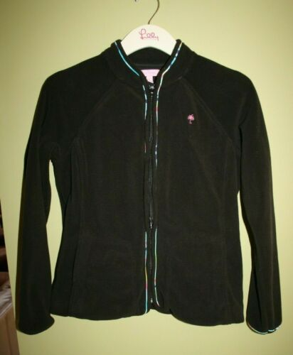 LILLY PULITZER FLEECE JACKET BLACK PRINTED PIPING… - image 1